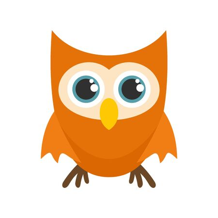 Cute face owl icon. Flat illustration of cute face owl vector icon for web design Çizim
