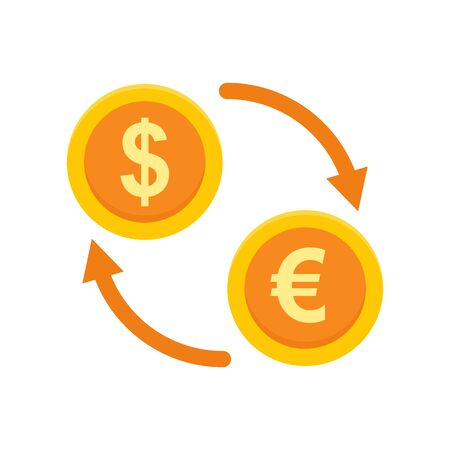 Money exchange icon, flat style