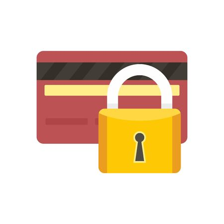 Credit card locked icon, flat style