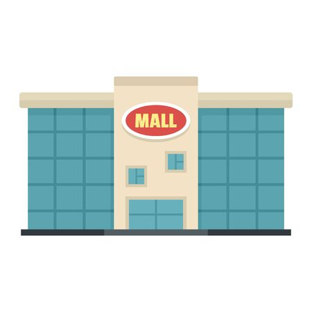 Local city mall icon, flat style Illustration