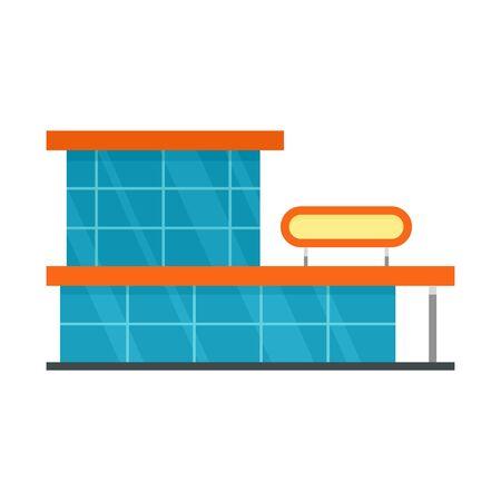 Storefront mall icon, flat style  イラスト・ベクター素材