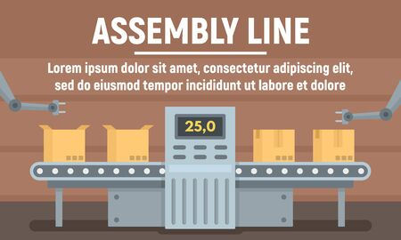 Parcel assembly line concept banner, flat style