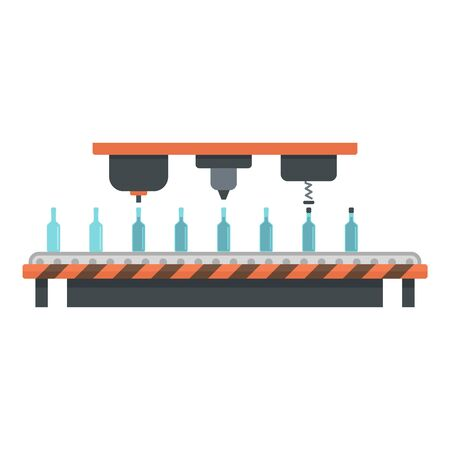 Bottle drink assembly line icon, flat style