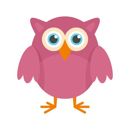 Big eyes owl icon, flat style 일러스트
