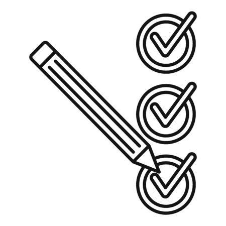 Pencil check mark icon, outline style Çizim