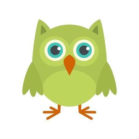 Nature owl icon, flat style