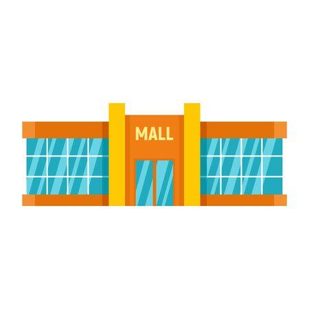 Retail mall icon, flat style