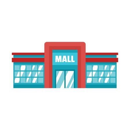Supermarket mall icon, flat style Illustration