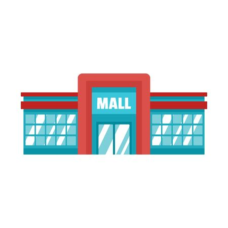 Supermarket mall icon, flat style Stock Vector - 131944857