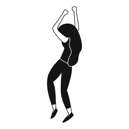 Dancing girl icon, simple style