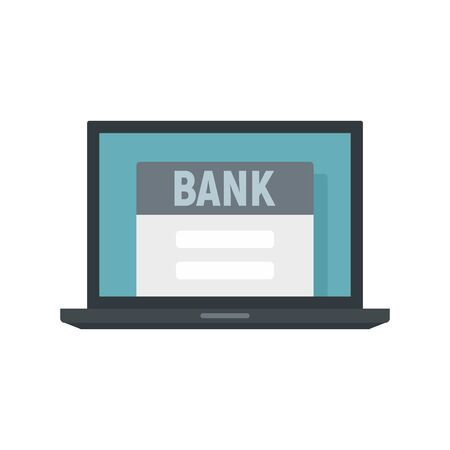 Online bank icon, flat style