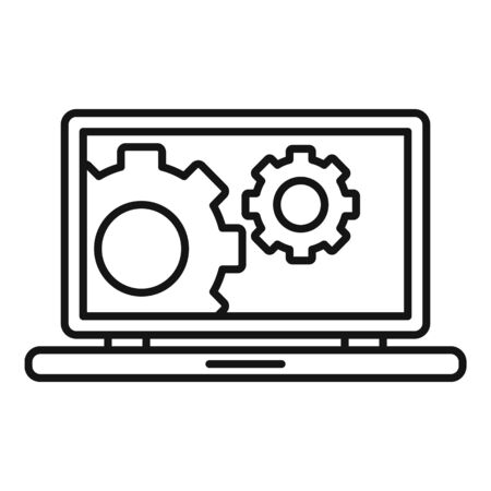 Laptop update icon. Outline laptop update vector icon for web design isolated on white background