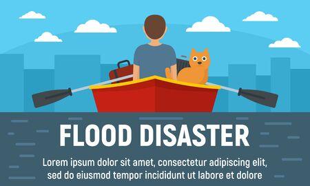 Flood disaster concept banner. Flat illustration of flood disaster vector concept banner for web design Ilustração