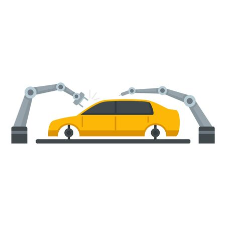 Robot arm car assembly icon. Flat illustration of robot arm car assembly vector icon for web design