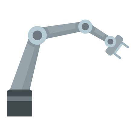 Steel robot arm icon. Flat illustration of steel robot arm vector icon for web design