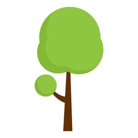 Green tree garden icon, flat style
