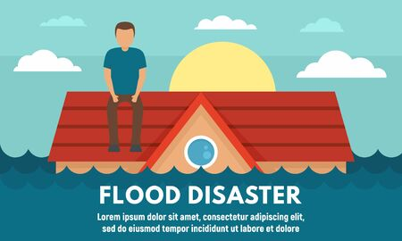 Water flood disaster concept banner, flat style