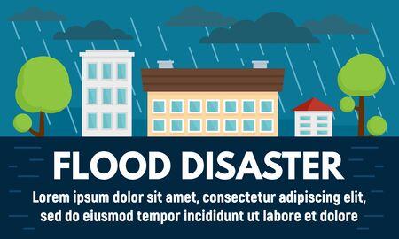 Bandera de concepto de desastre de inundación de la ciudad, estilo plano