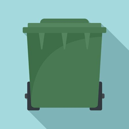 Plastic garbage bin icon. Flat illustration of plastic garbage bin vector icon for web design