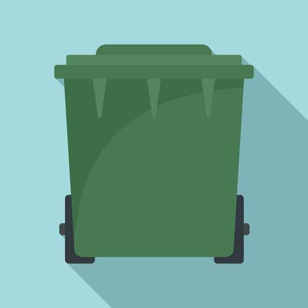 Plastic garbage bin icon. Flat illustration of plastic garbage bin vector icon for web design Stockfoto - 132096306