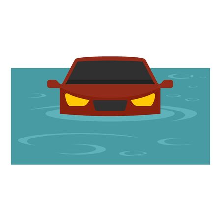 Red car flood icon. Flat illustration of red car flood vector icon for web design