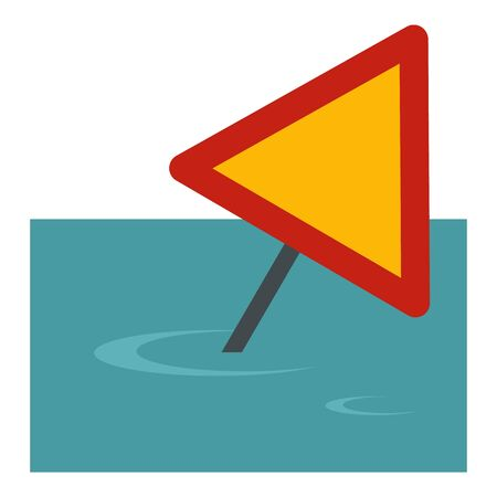 Sign road flood icon. Flat illustration of sign road flood vector icon for web design