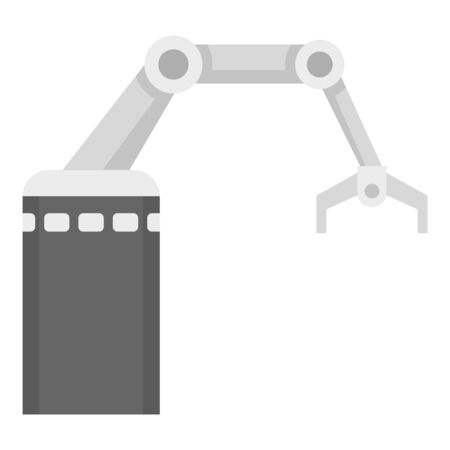 Industrial arm robot icon. Flat illustration of industrial arm robot vector icon for web design