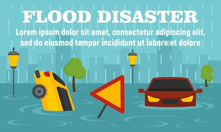 Flood disaster concept banner, flat style