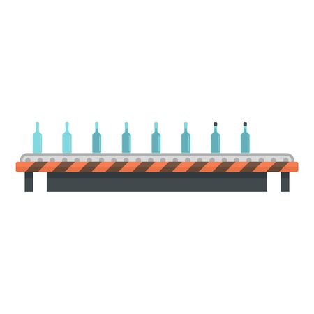 Bottles on roll line icon, flat style