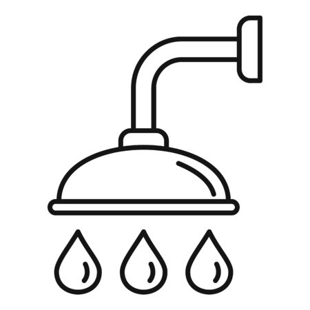Shower icon, outline style Illustration