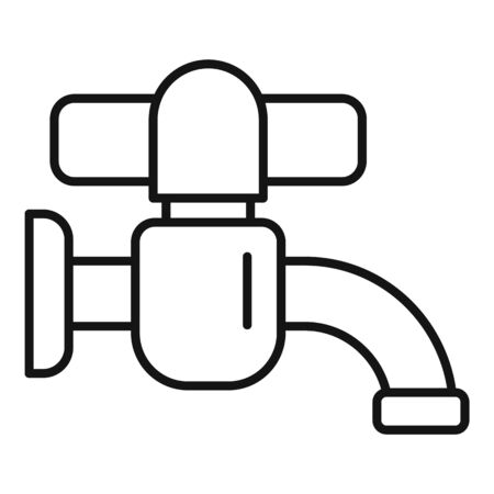 Faucet icon. Outline faucet vector icon for web design isolated on white background Ilustracja