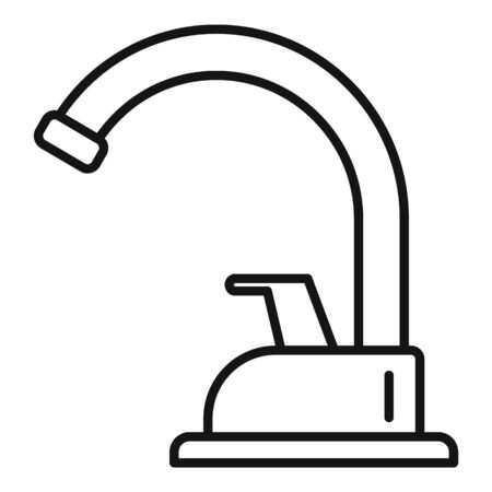 Plumbing faucet icon. Outline plumbing faucet vector icon for web design isolated on white background