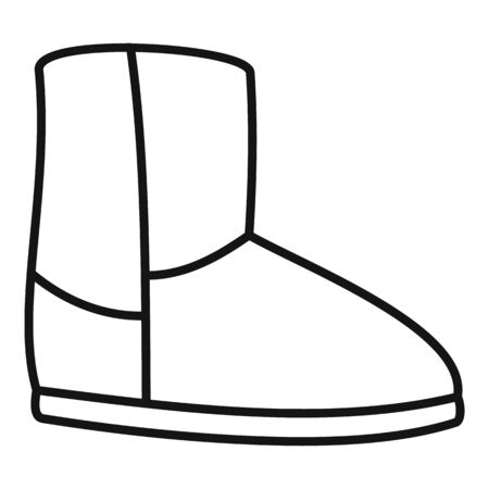 Casual ugg boot icon, outline style