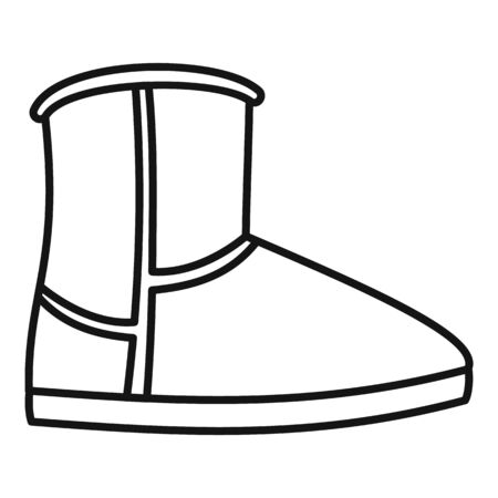 Leather ugg boot icon, outline style
