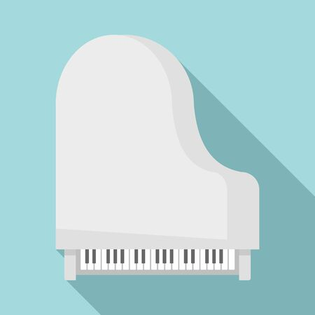 Grand piano top view icon. Flat illustration of grand piano top view vector icon for web design