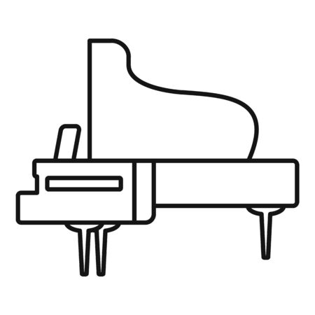 Concert grand piano icon. Outline concert grand piano vector icon for web design isolated on white background
