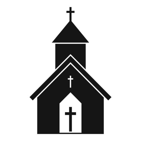 Rural church icon, simple style