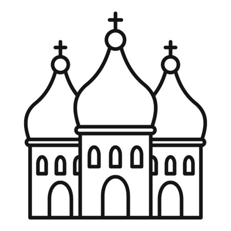 Modern city church icon. Outline modern city church vector icon for web design isolated on white background