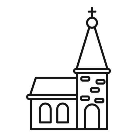 City church icon, outline style Çizim