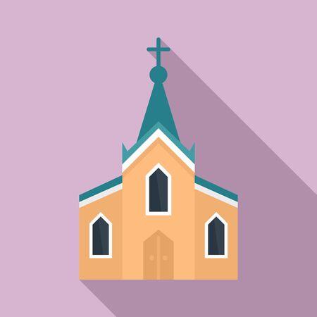 City church icon, flat style Иллюстрация