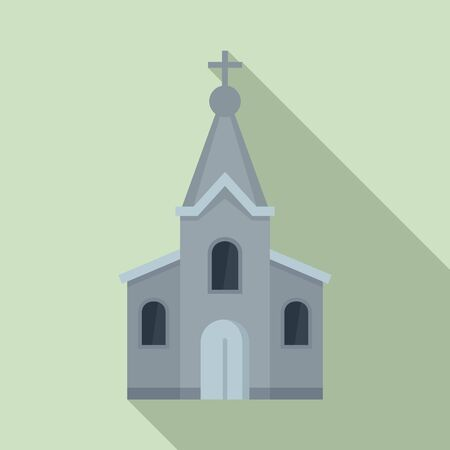 Stone church icon. Flat illustration of stone church vector icon for web design