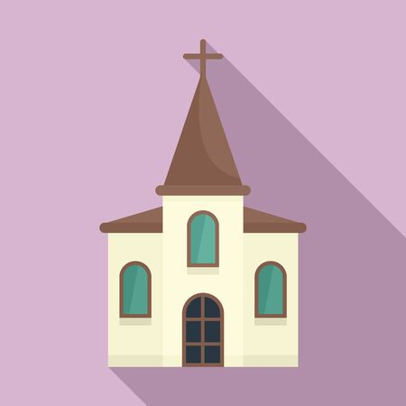 Wood church icon. Flat illustration of wood church vector icon for web design