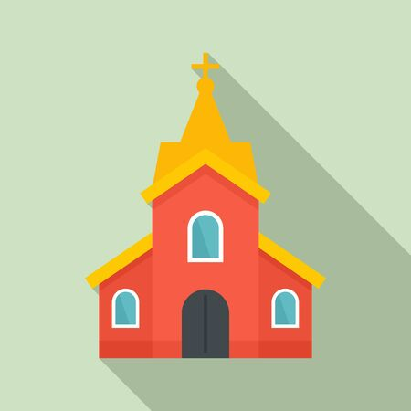 Church building icon. Flat illustration of church building vector icon for web design