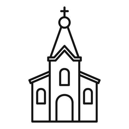 Stone church icon. Outline stone church vector icon for web design isolated on white background