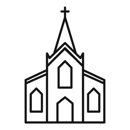 Wood church icon, outline style Ilustração