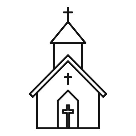 Church building icon. Outline church building vector icon for web design isolated on white background