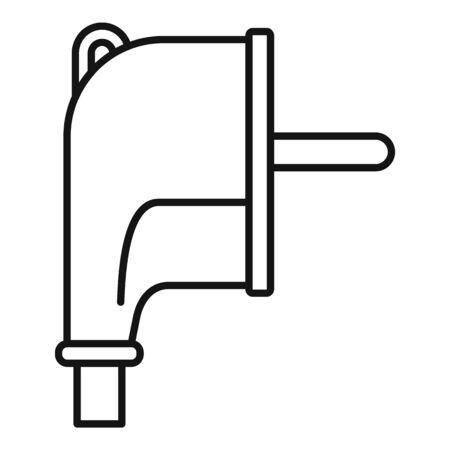 Europe plug icon, outline style Иллюстрация