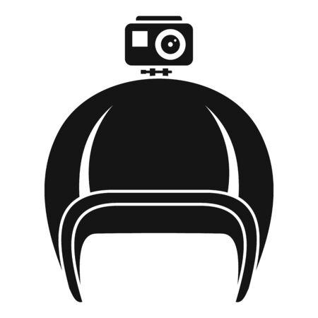 Action camera helmet icon. Simple illustration of action camera helmet vector icon for web design isolated on white background Illusztráció