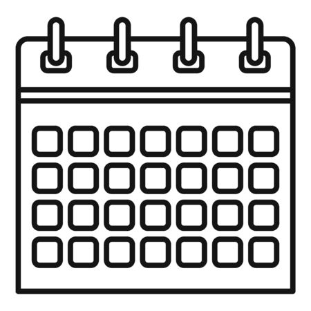 Office calendar icon, outline style