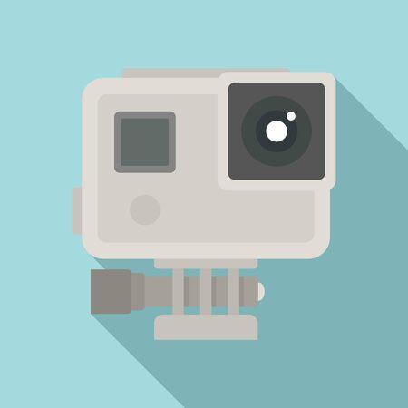 Sport action camera icon, flat style Иллюстрация